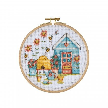 Cross Stitch Kit with Wooden Hoop - House and Beehive