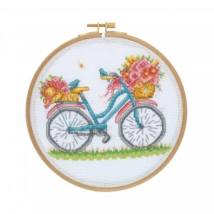 Cross Stitch Kit with Wooden Hoop - Bicycle with Flowers