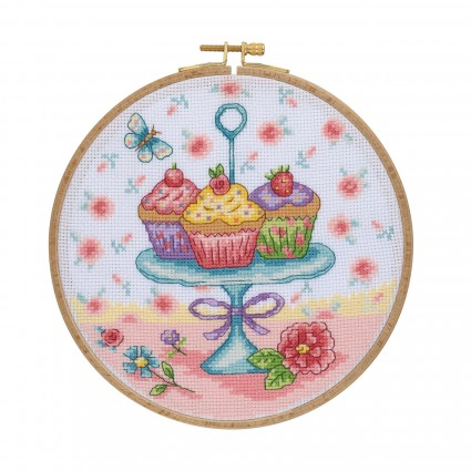 Cupcake Cross Stitch Kit with Wooden Hoop