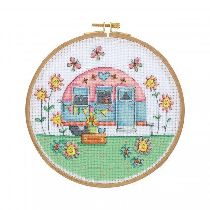 Cross Stitch Kit with Wooden Hoop