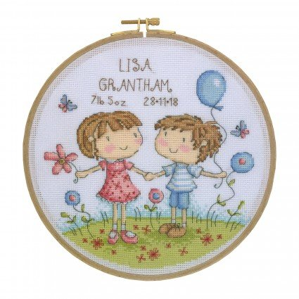 Cross Stitch Kit with Wooden Hoop Boy and Girl