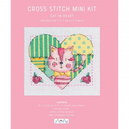 Mini Cross Stitch Kit Cat In Heart