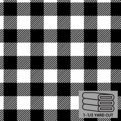 Cabin Fleece Black & White 1-1/2 yd.