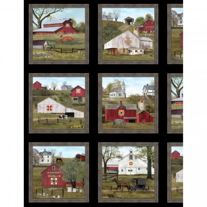 Elizabeths Studio -  Headin' Home Panel Black with Amish Quilt Barns