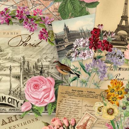 ELS4900-CRE Cream Collage of Spring In Paris