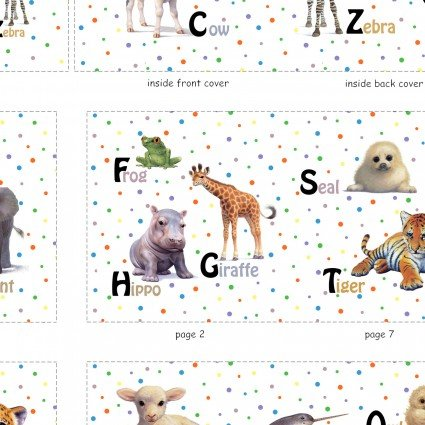 Alphabet Animals Cloth Book Panels from Elizabeth Studios