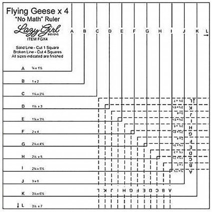 Flying Geese x 4 No Math Ruler