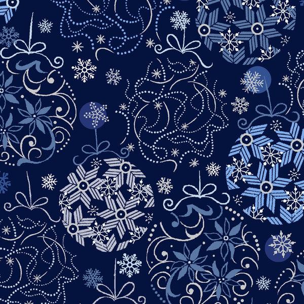 Blue Holiday Ornaments w/ Silver Metallic