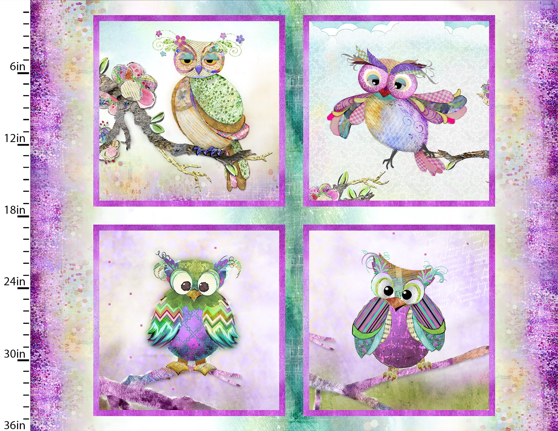 3 Wishes Boho Owls Digital 13783-Multi Panel