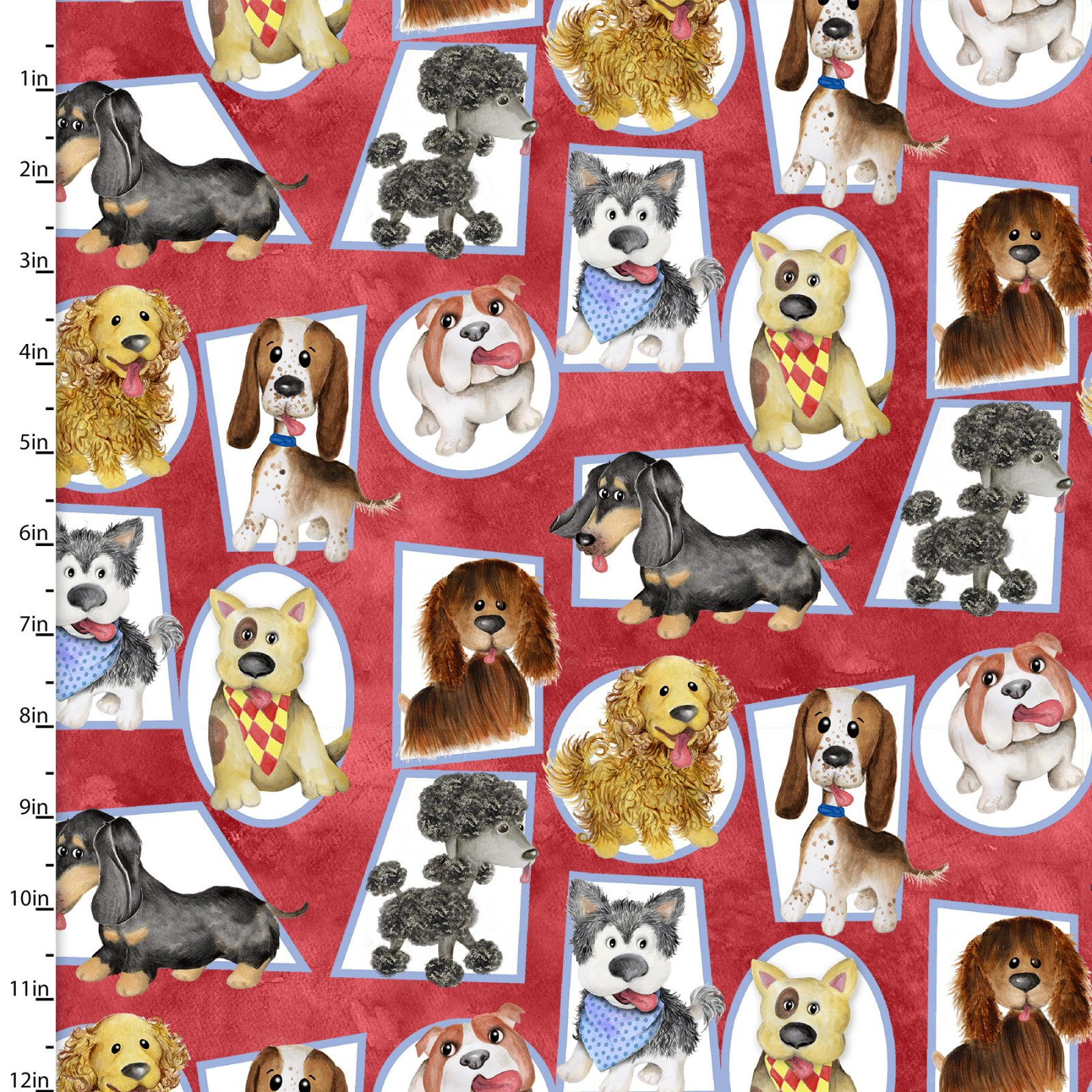 3 Wishes Puppy Pals 13828-RED Dogs in frames