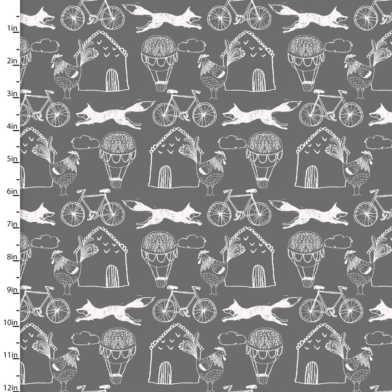 3 Wishes Fabric -  Little Thicket -Fox/Bike