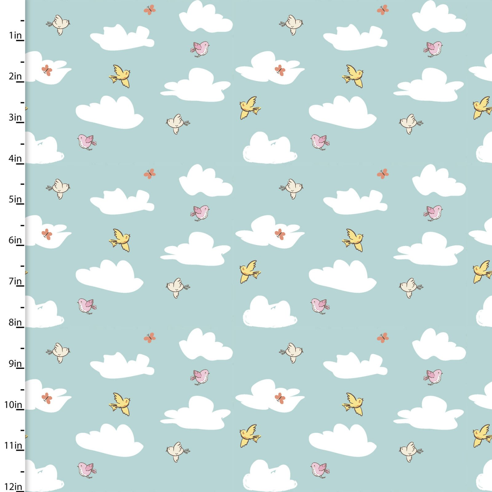 Playful Cuties 3 - Clouds Flannel