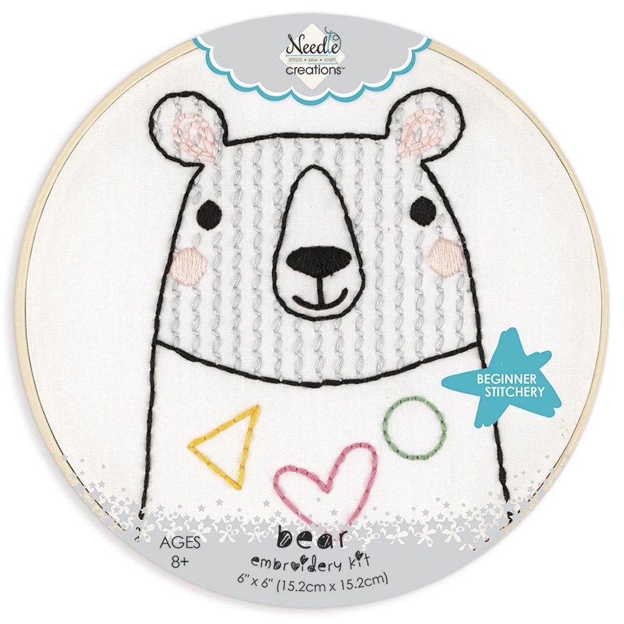 Needle Creations  Beginner Stitchery Hoop Kit Bear  NC-ESTCH-BEAR - 699919301485