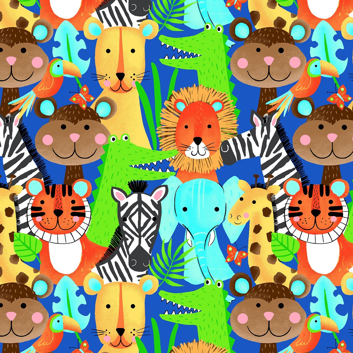 Blue Jungle Animals Flannel