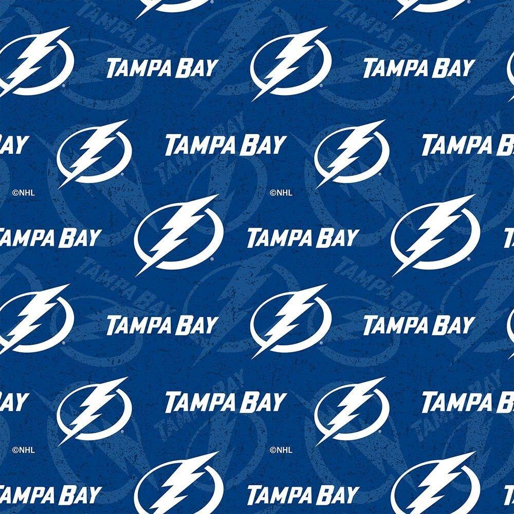 Licensed:  NHL Tampa Bay Lightning White logos on a background of Blue Logos  by Sykel