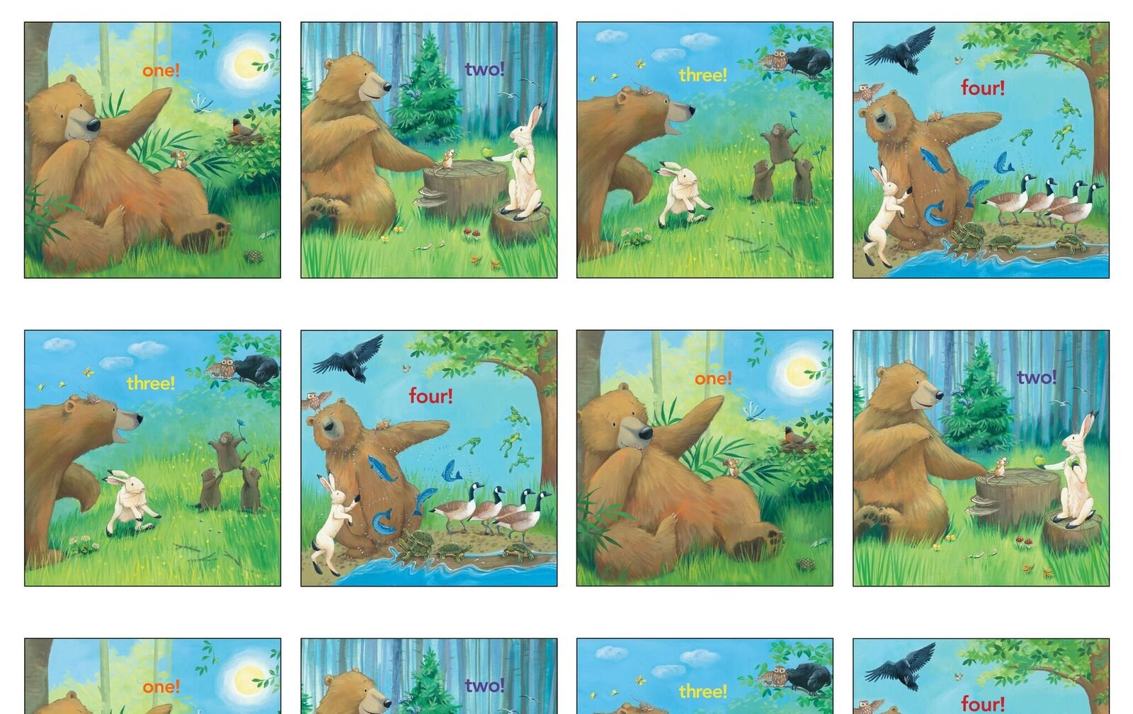 Adventures of Bear & Friends 12001 Multi 24 Panel  - Counting