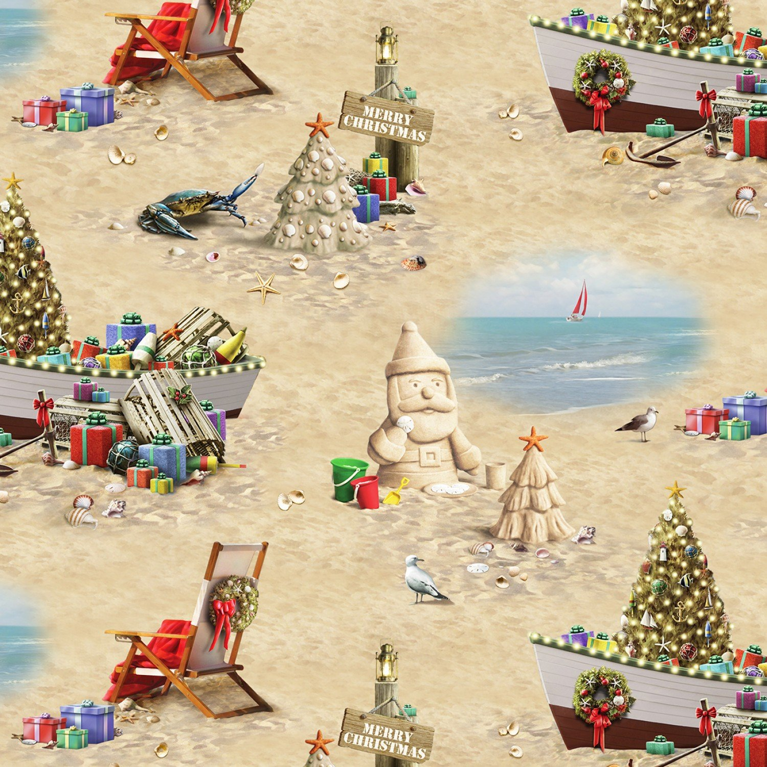 Fabric Elizabeth Studio Sandy Clause 13001 Sand - Scenic
