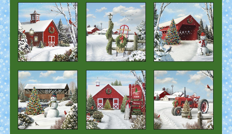 Fabric Elizabeth Studio Tis' The Season 13002 Green Panel 24 x 44