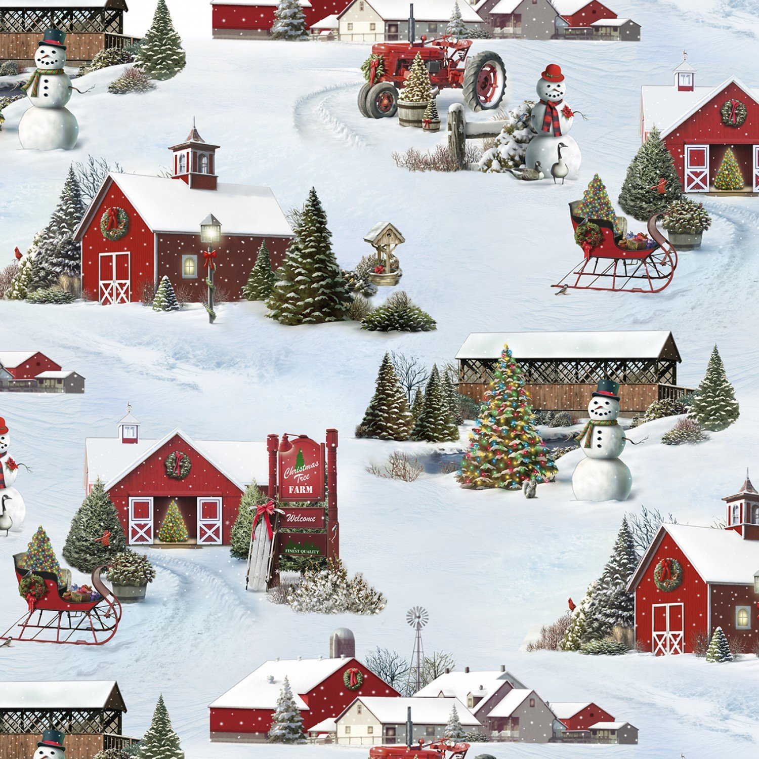 Fabric Elizabeth Studio Tis' The Season 13003 Snow - Scenic