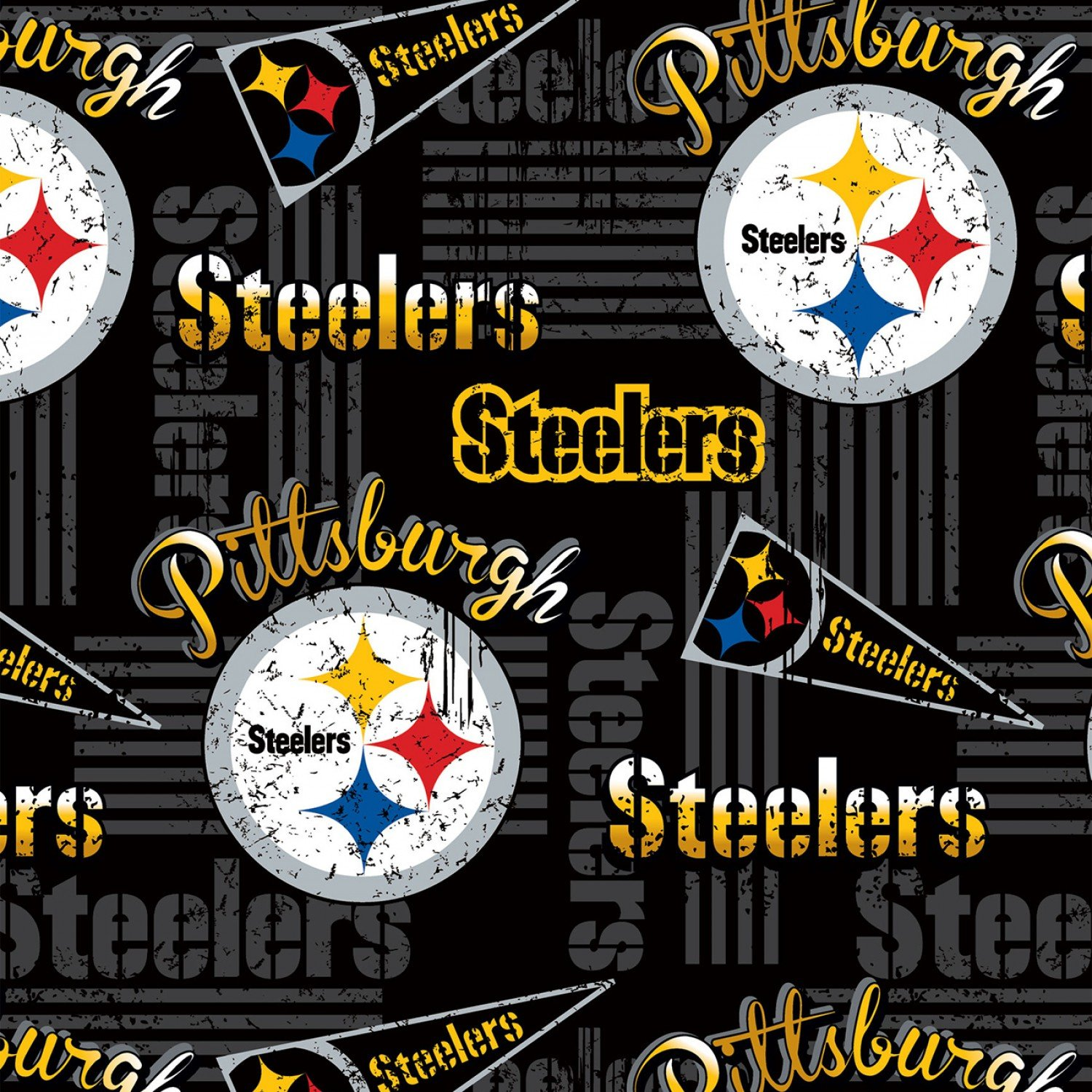 Licensed: NFL Pittsburgh Steelers Logo and Pennant on Black - Licensed 58 wide