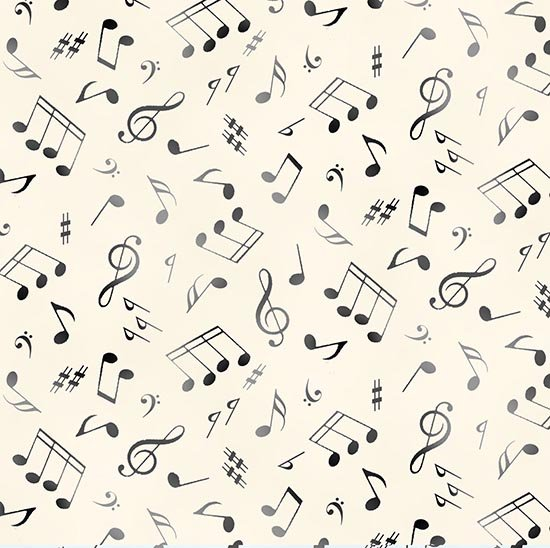 Music Notes - Cream Fabric by the Yard