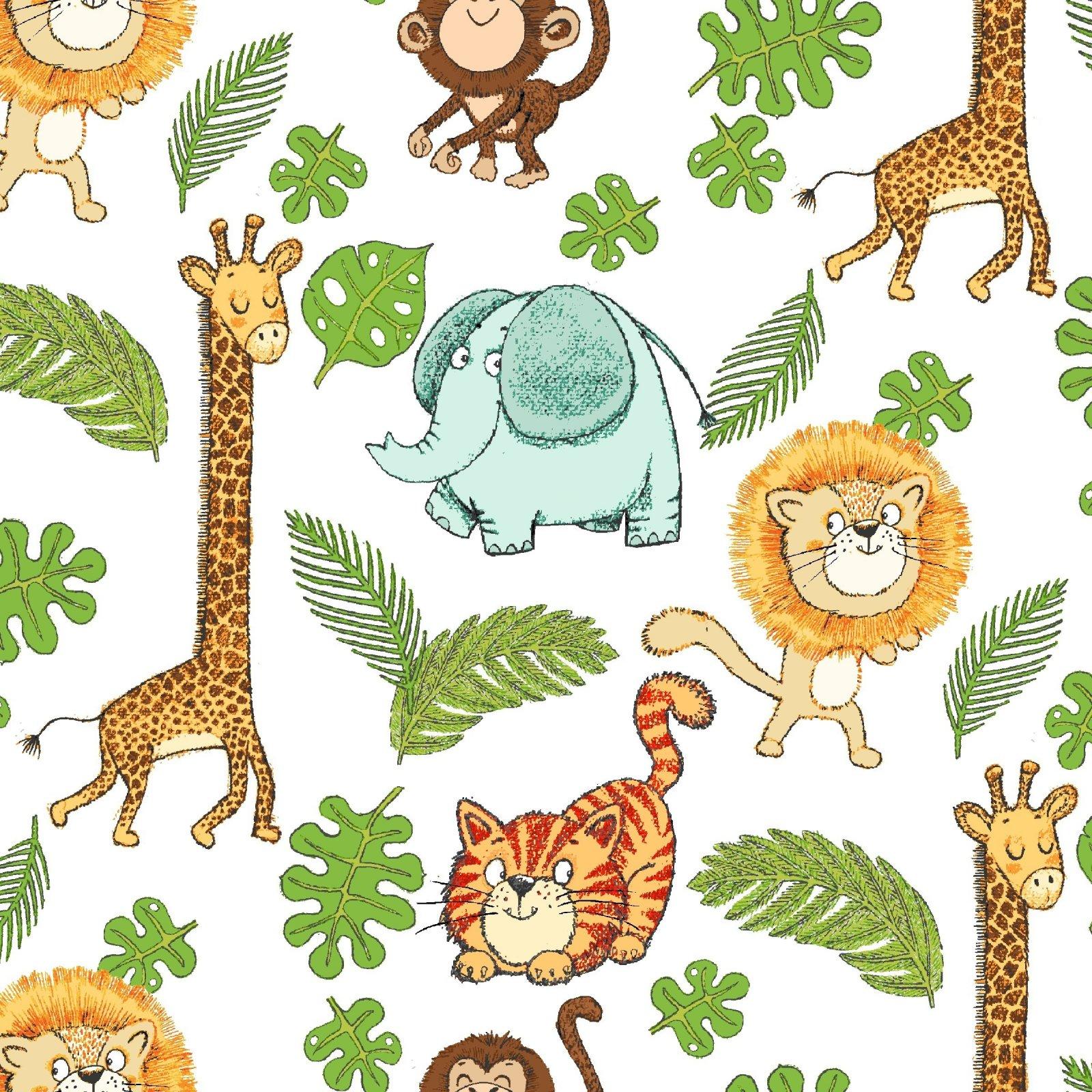 FE-Playful Cuties 4 14922 White - Safari Animals Flannel