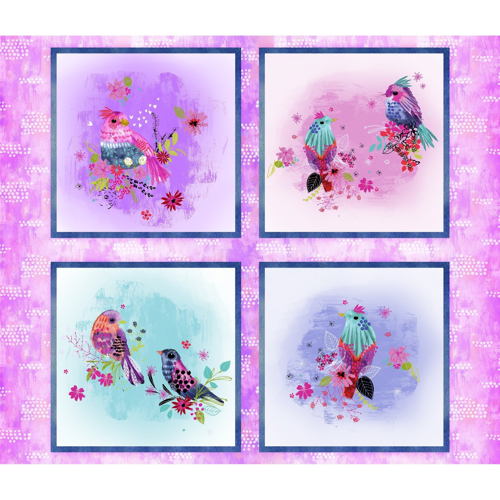 3 Wishes Bright Birds Multi - Panel 36 inches