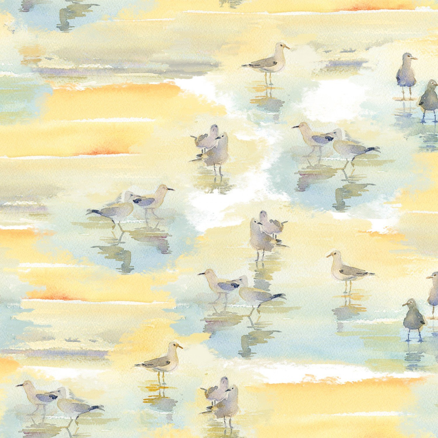 Sandpipers Fabric - Tan At the Shore Collection by Three Wishes Fabric