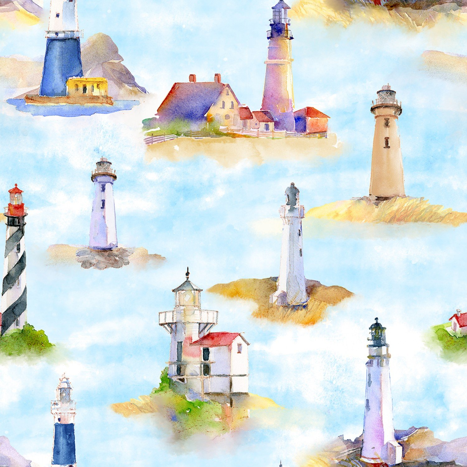 At the Shore 16055 Lighthouses Digitally Printed