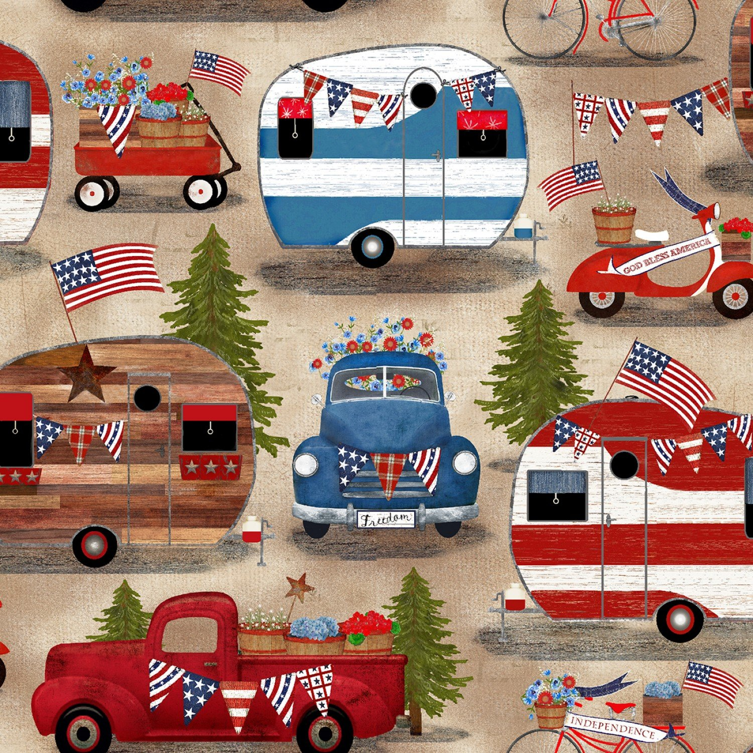 American Camping Fat Quarter - Multi by Three Wishes Fabrics