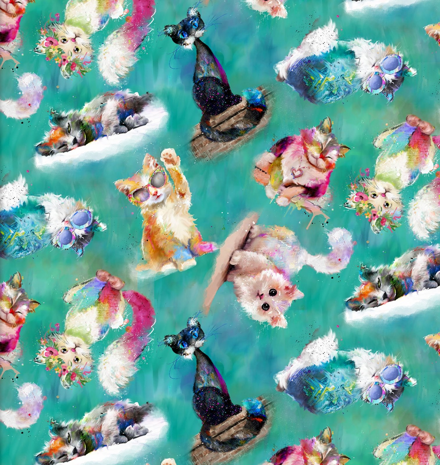 3w-Good Kitty 16548 Turquoise - Tossed Cats Digitally Printed