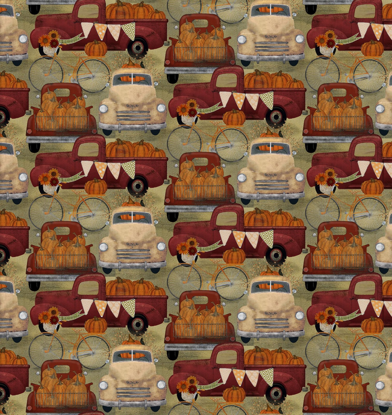 3 Wishes Harvest Campers 16636 Tan Truck Hauling Pumpkins