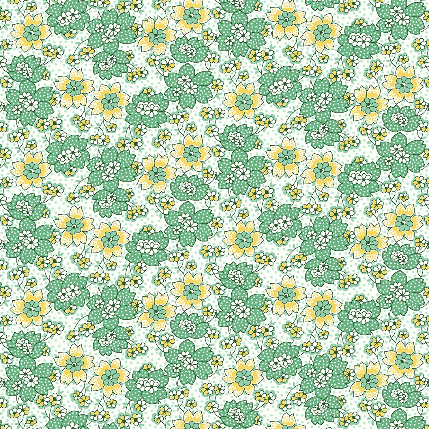 Nana Mae 1671-64 Green Dotted Flowers