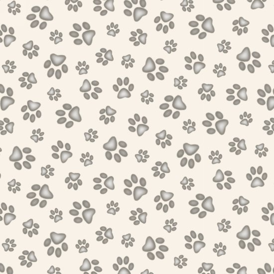Adorable Pets Paw Print 181 Cream -