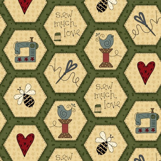 Home Sewn 2227-66 Green Hexies by Gail Pan for Henry Glass & Co