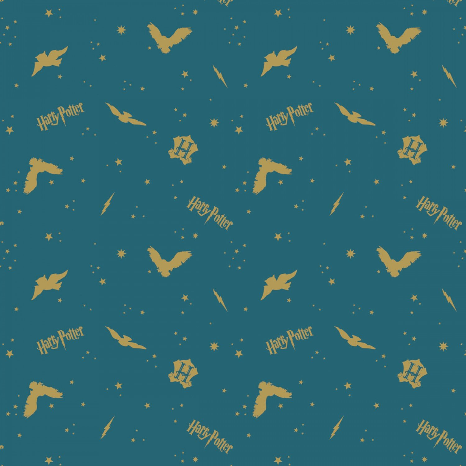 Foust Textiles - Harry Potter - Wizarding World - Assets w/Metallic on Flannel - Teal In the Night Sky