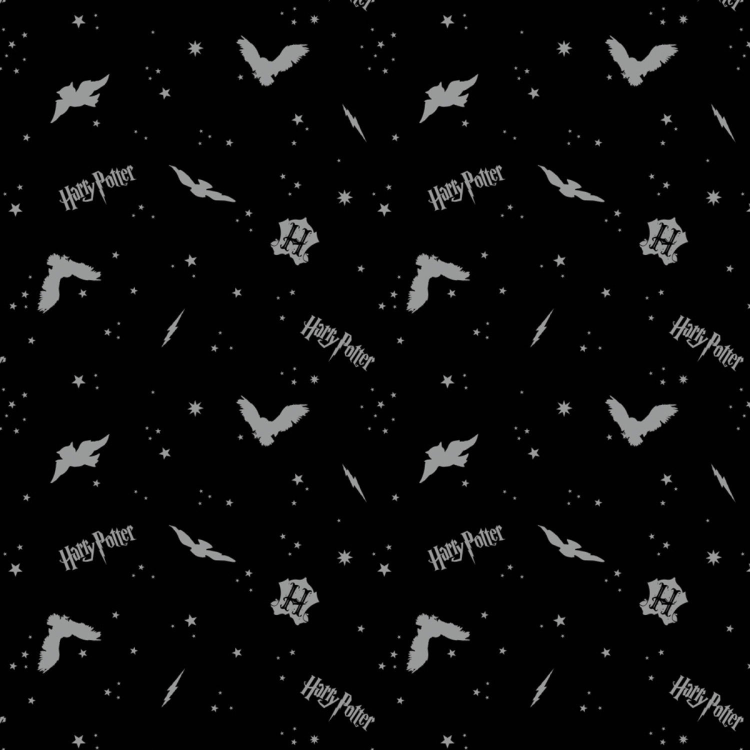 Foust Textiles - Harry Potter - Wizarding World - Assets w/Metallic on Flannel - Black In the Night Sky