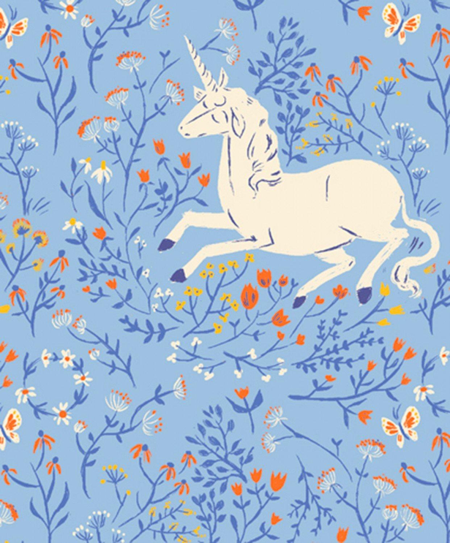 Heather Ross 20th Anniversary Unicorns in Blue