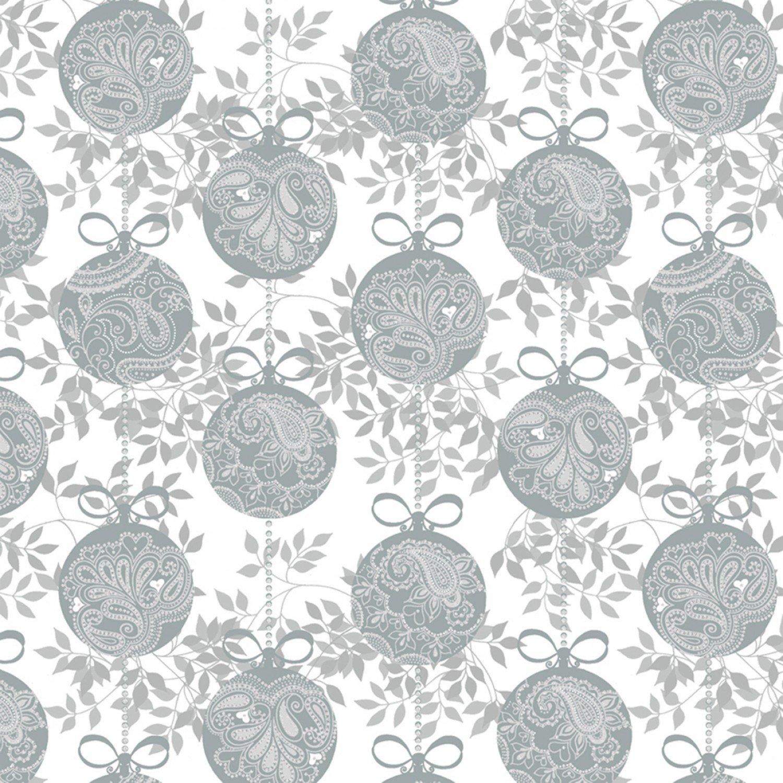 WF-Holiday Village 40301AM-2 Silver - Ornaments w/Metallic
