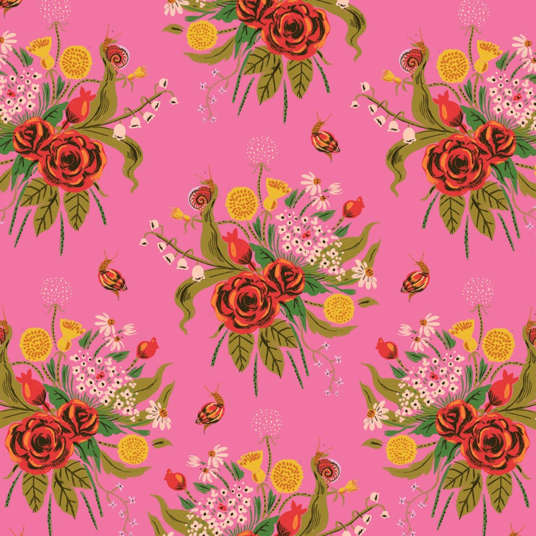 Heather Ross 20th Anniversary  Pink Wild Flowers