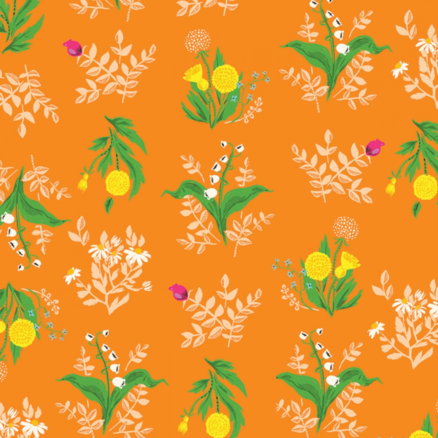 Heather Ross 20th Anniversary - Orange Bouquet - by Heather Ross for Windham Fabrics
