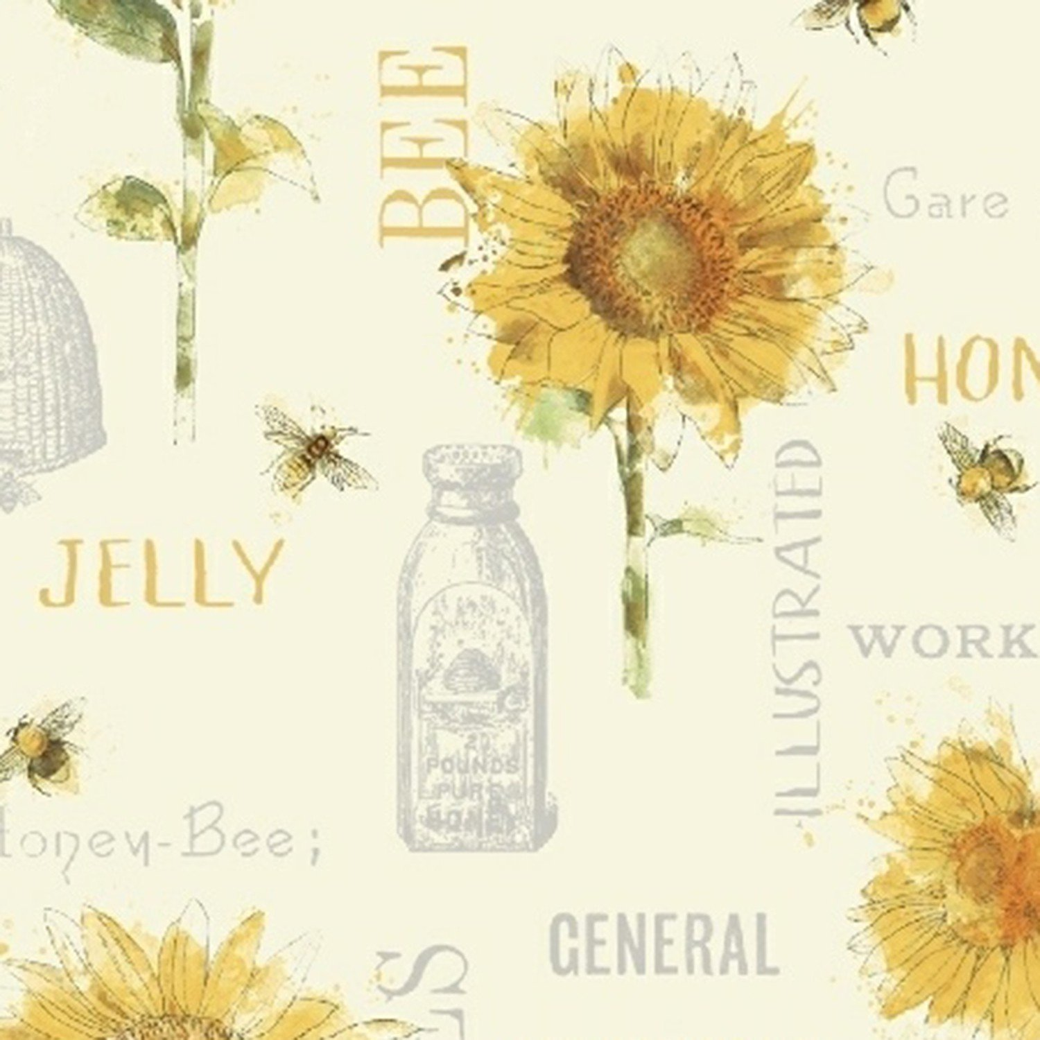 Bee My Sunshine 43314-3 Bottles & Sunflowers
