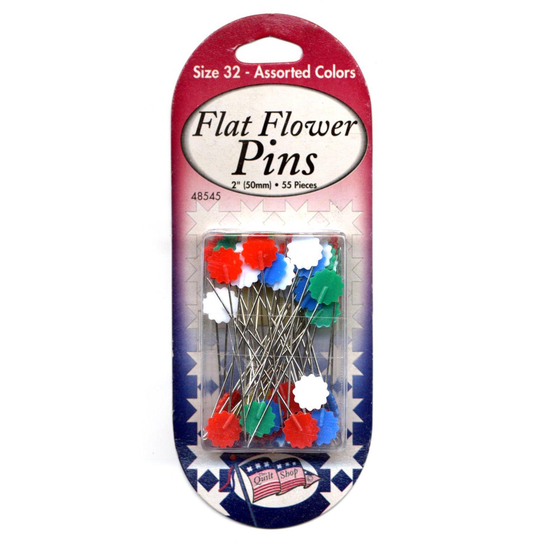 Sullivans - Flat Flower Pins 48545 - Size 32 Assorted Colors