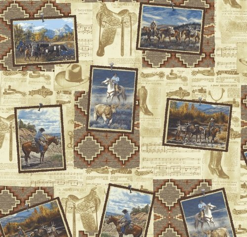 Cowboy Snapshots on Tan and Southwestern Print:  Mountain Pass by David Graham / Whistler Studios for Windham Fabrics