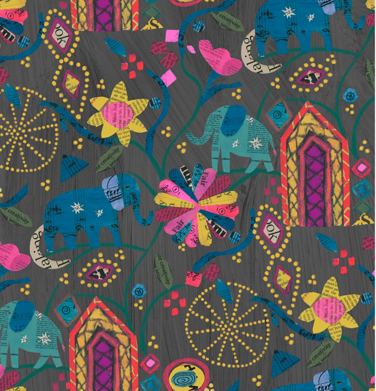 Wish - Old Paper Garden of Dreams Linen Black - by Carrie Bloomston for Windham Fabrics