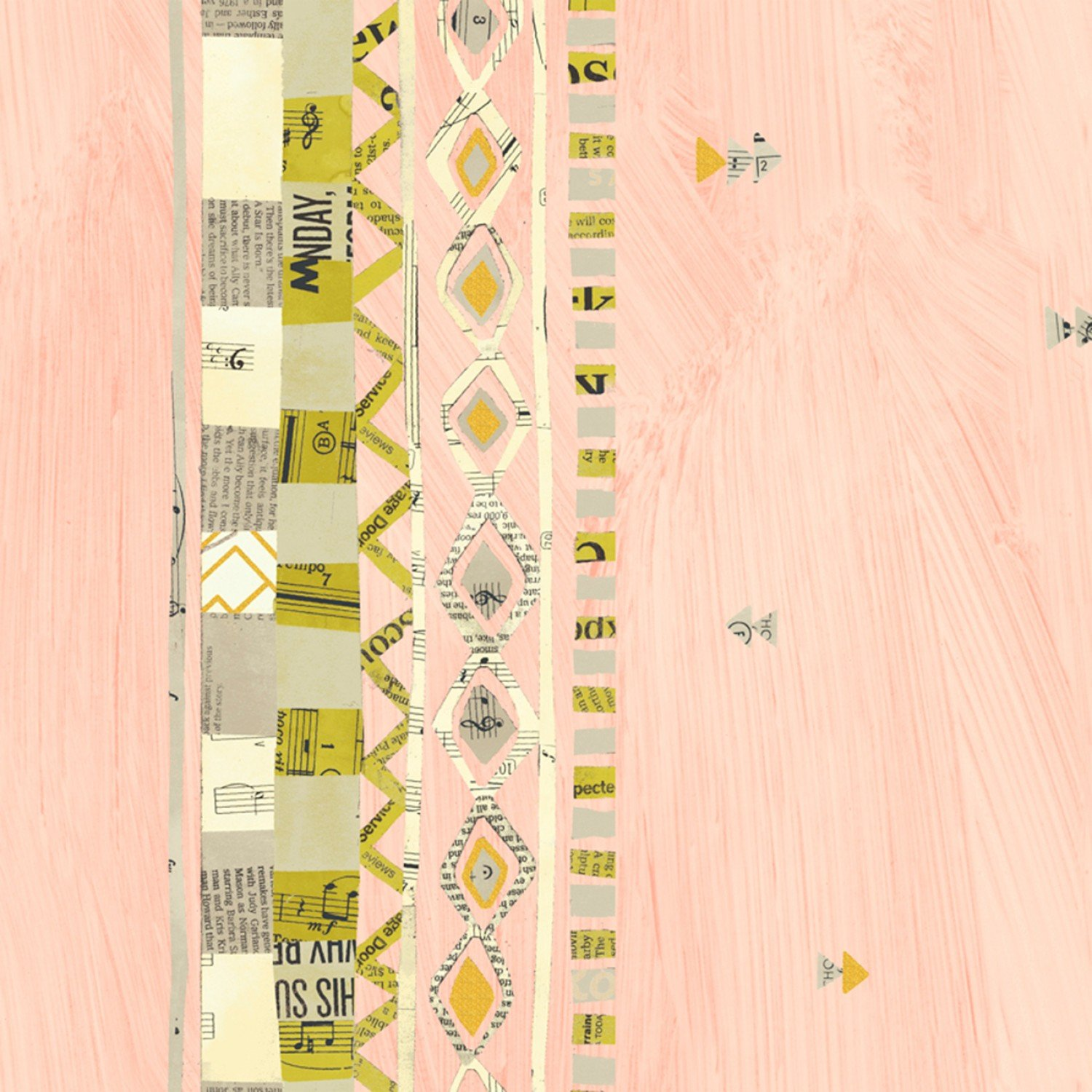 51739M 4 Pink Zig Zag Border w/Metallic Wish by Carrie Bloomston for Windham Fabrics. 100% cotton 43 wide