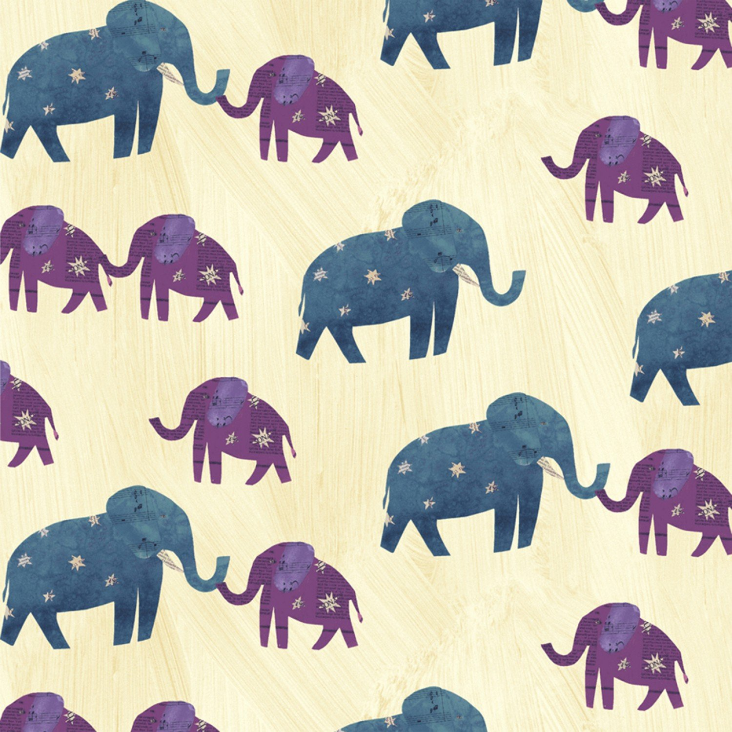 Windham Fabrics- -Wish 51740-1 Old Paper - Starry Elephants NSKU-34023