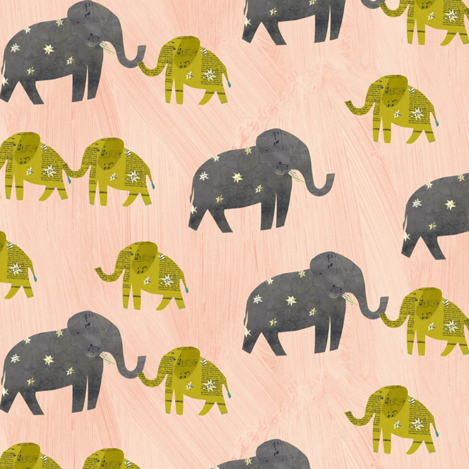 51740 4 Pink Starry Elephants Wish by Carrie Bloomston for Windham Fabrics. 100% cotton 43 wide