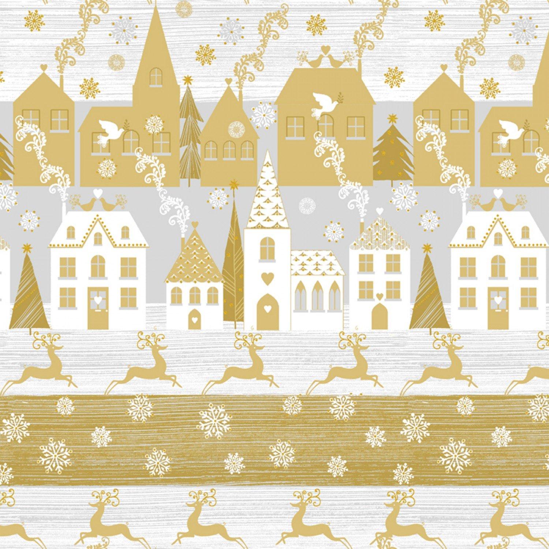 WF-Holiday Village 51772M-1 Gold - Holiday Village w/Metallic