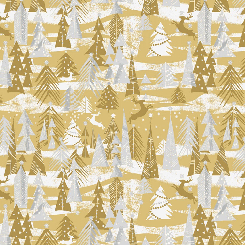 WF-Holiday Village 51773M-1 Gold - Reindeer Forest w/Metallic